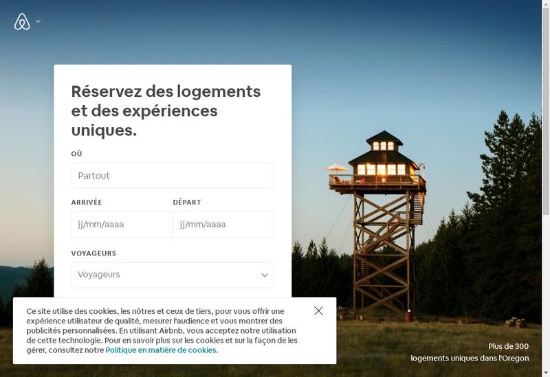 Capture d'écran du site de Airbnb France