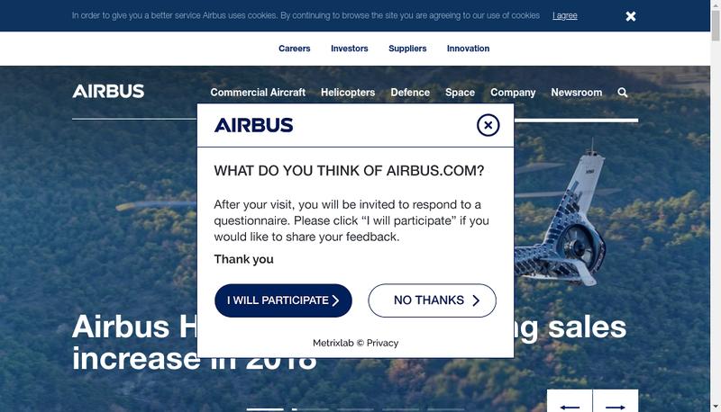 Capture d'écran du site de Airbus Helicopters