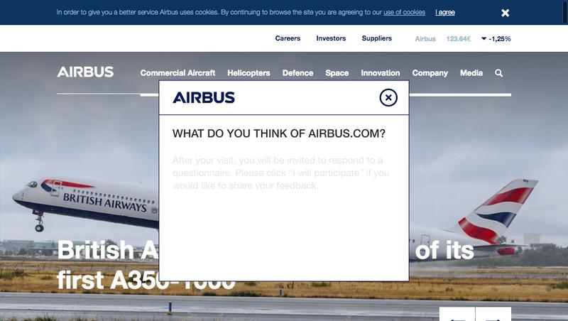 Capture d'écran du site de Airbus