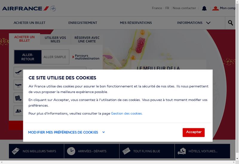 Capture d'écran du site de Air France - Klm