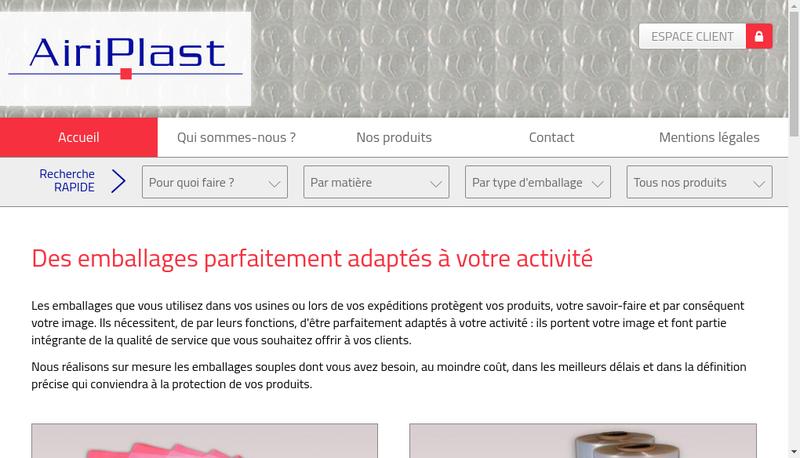 Capture d'écran du site de Airiplast