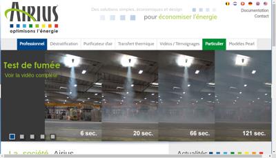 Capture d'écran du site de Airius