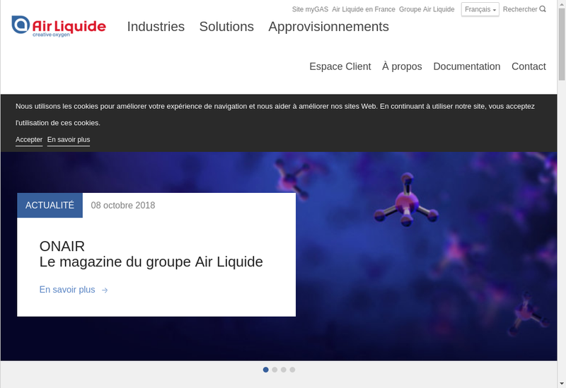 Capture d'écran du site de Air Liquide Electronics Systems