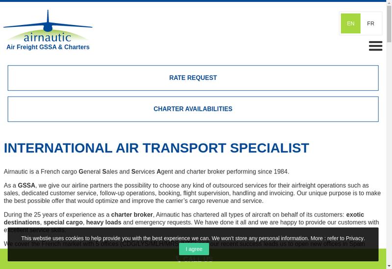 Capture d'écran du site de Airnautic France