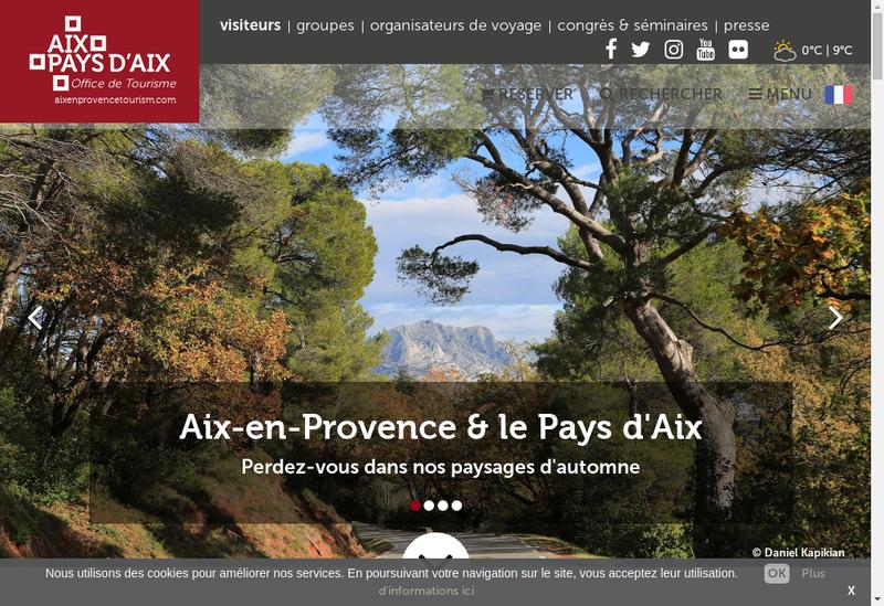 Capture d'écran du site de Office Municipal de Tourisme