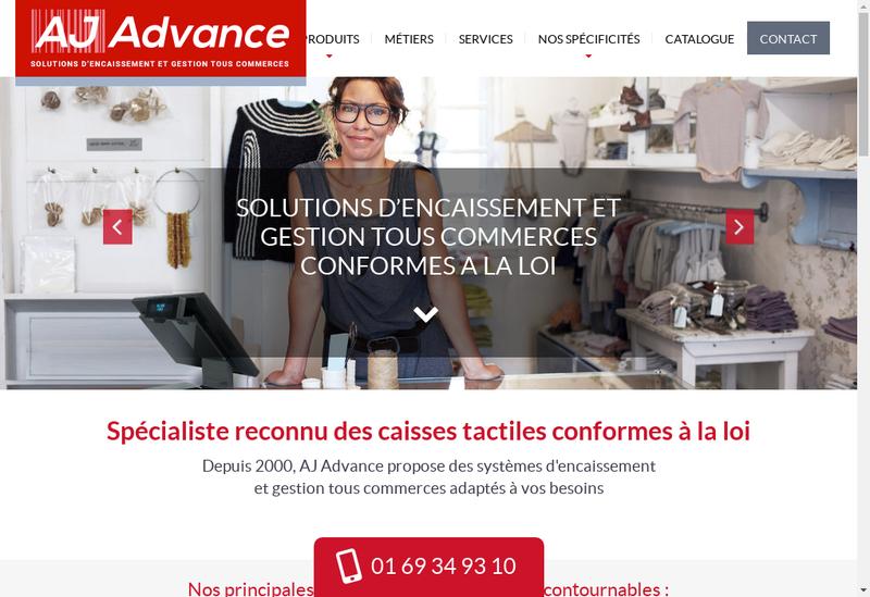 Capture d'écran du site de Aj Advance