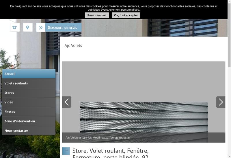 Capture d'écran du site de Ajc Volets