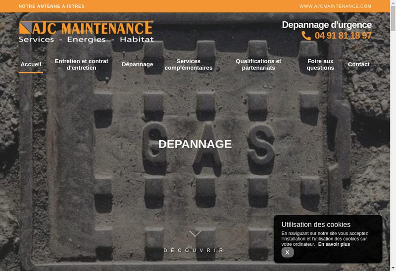 Capture d'écran du site de Ajc Maintenance