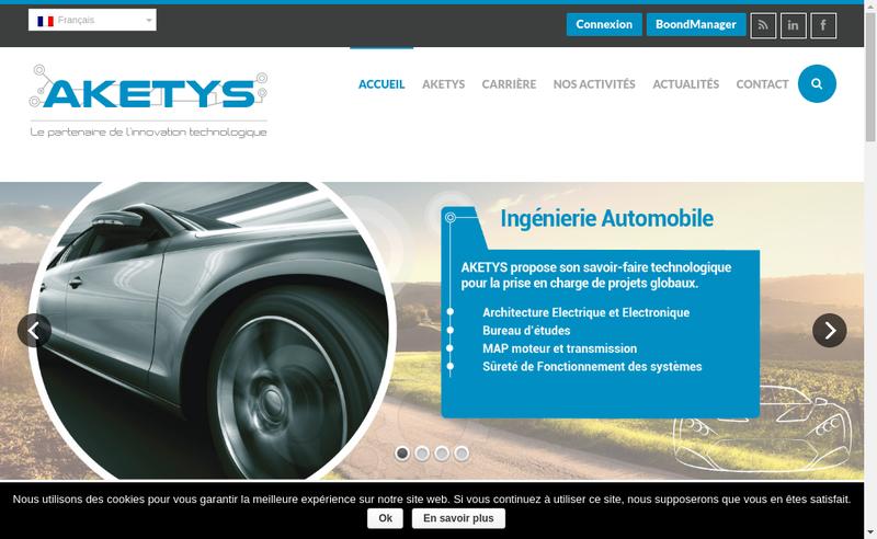 Capture d'écran du site de Aketys