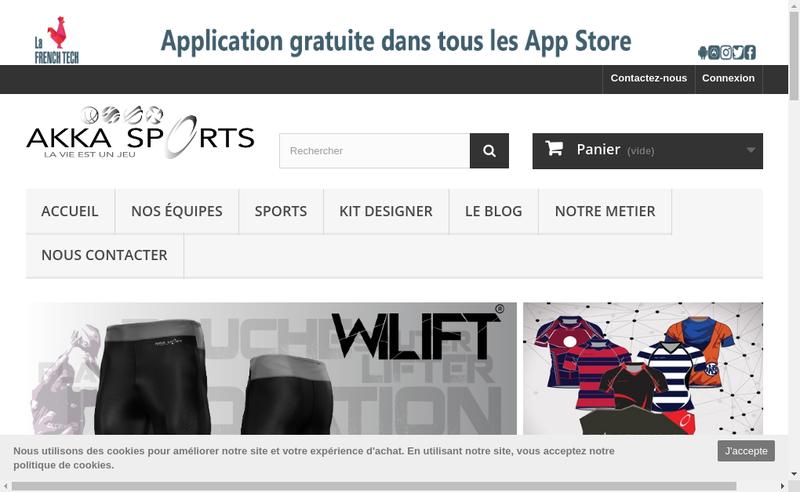 Capture d'écran du site de Akka Sports