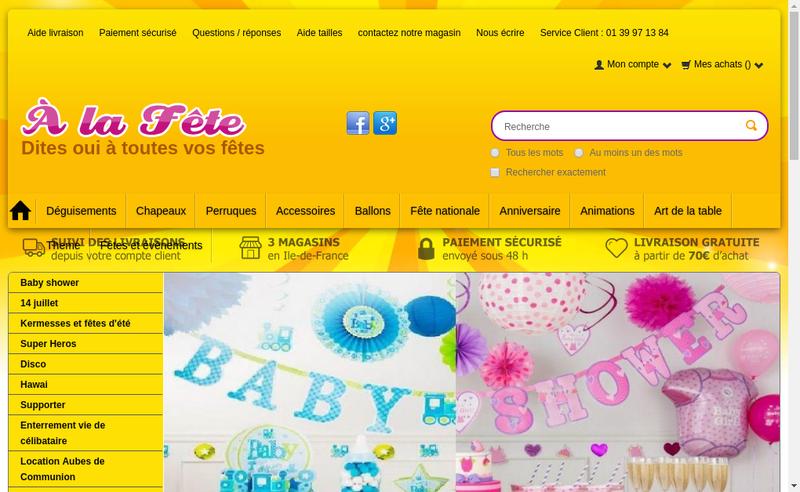 Capture d'écran du site de À la Fete