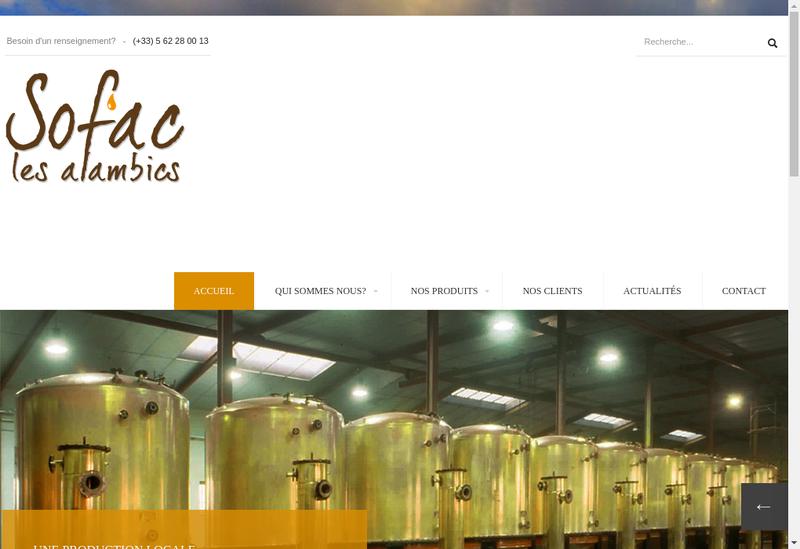 Capture d'écran du site de Societe Fab Alambics Armagnacais Charent