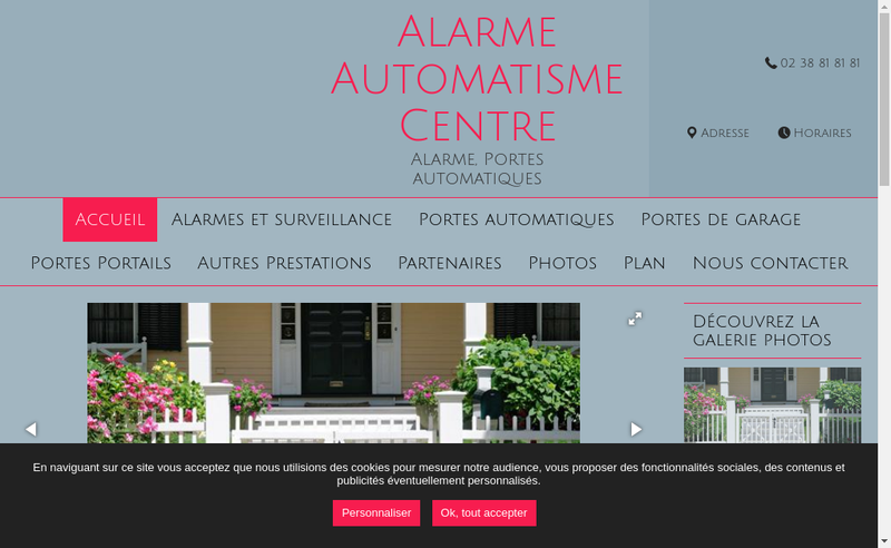 Capture d'écran du site de Alarme Automatisme Centre