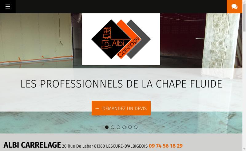 Capture d'écran du site de Albi Carrelage