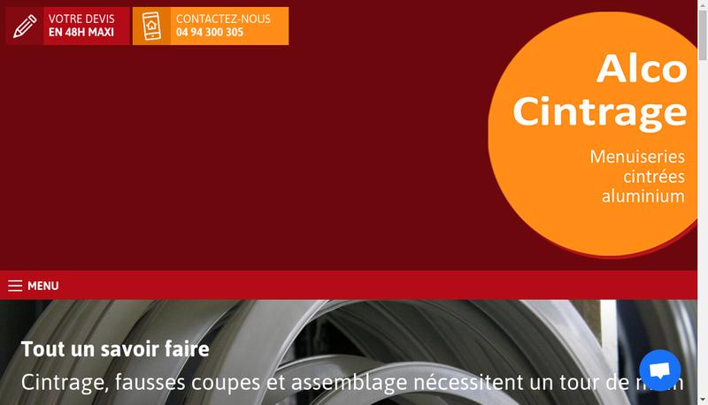Capture d'écran du site de Alco Cintrage