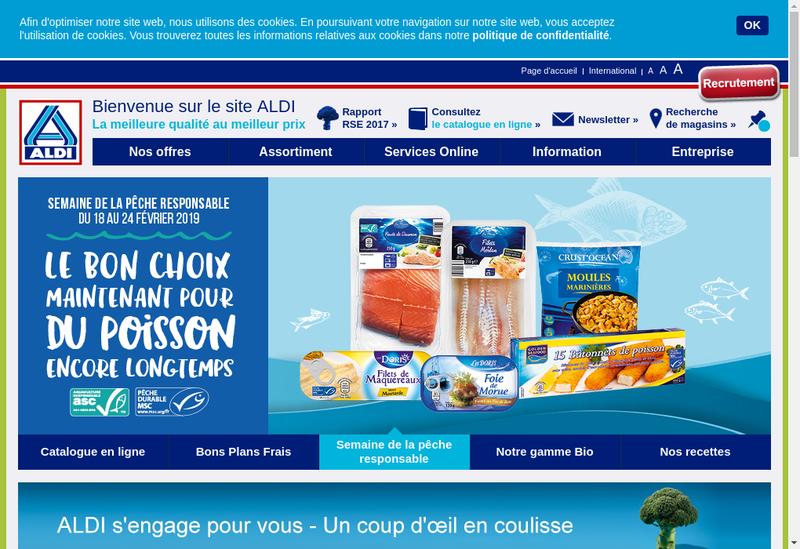 Capture d'écran du site de ALDI