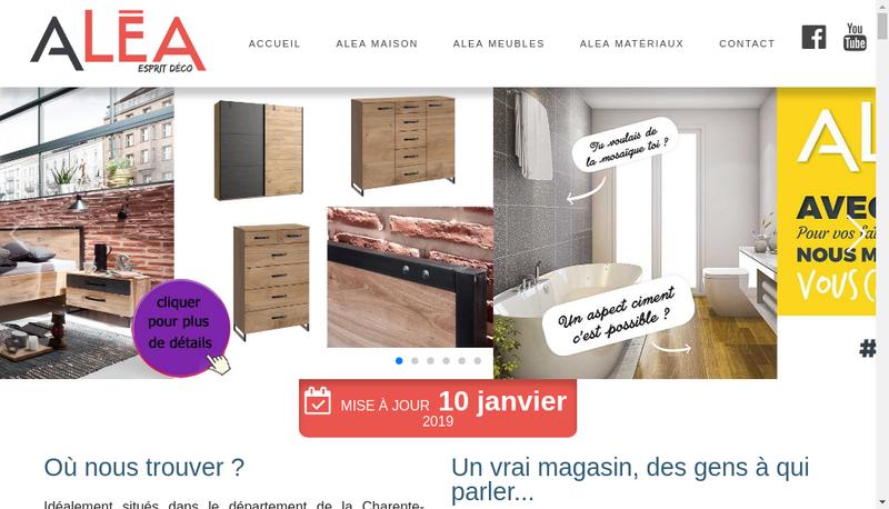 Capture d'écran du site de Alea Deco