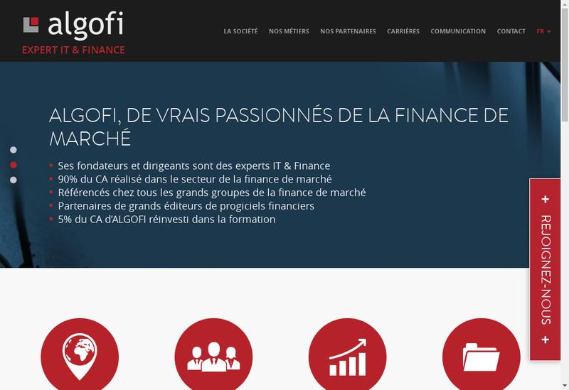 Capture d'écran du site de Algofi