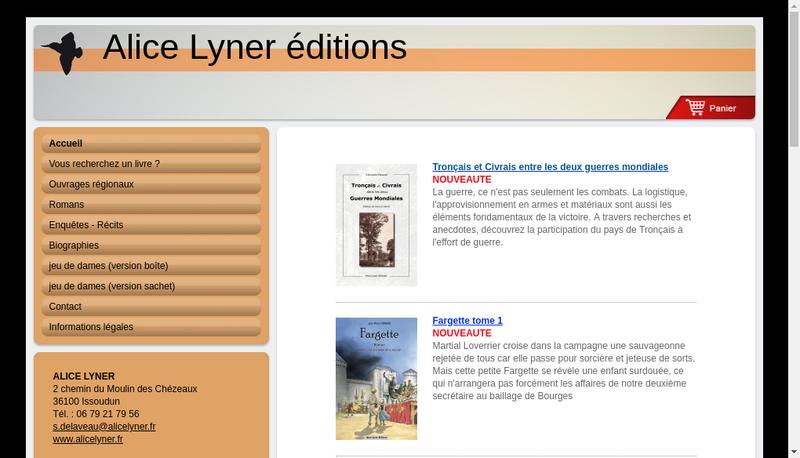Capture d'écran du site de Alice Lyner Editions