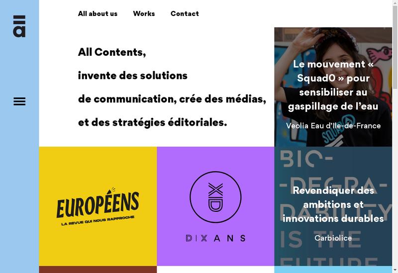 Capture d'écran du site de All Contents