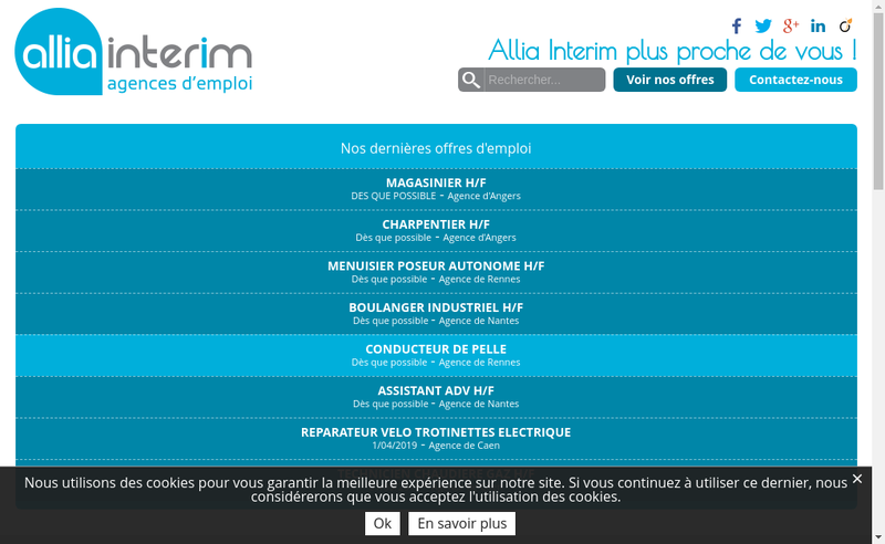 Capture d'écran du site de Allia Interim