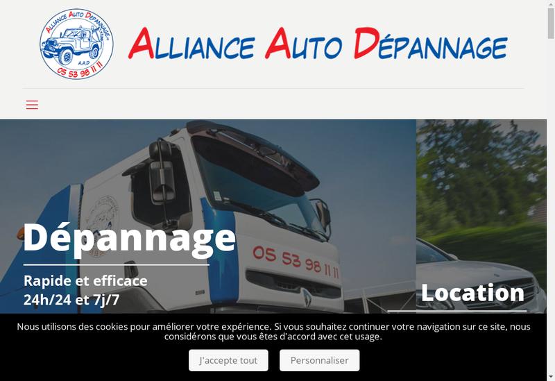 Capture d'écran du site de Alliance Auto Depannage