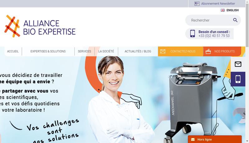 Capture d'écran du site de Alliance Bio Expertise