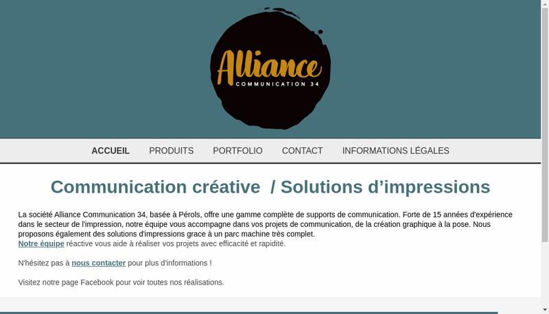 Capture d'écran du site de Alliance Communication 34