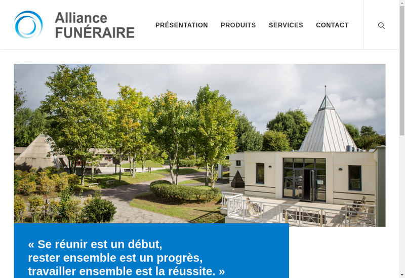 Capture d'écran du site de Alliance Funeraire