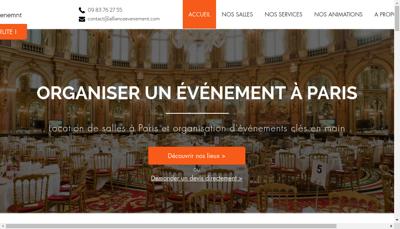 Capture d'écran du site de Alliance Evenement