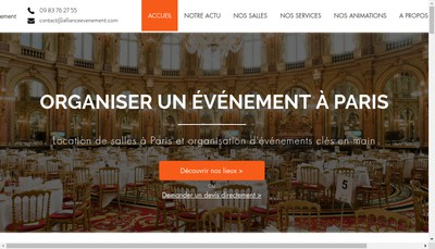 Site internet de Alliance Evenement