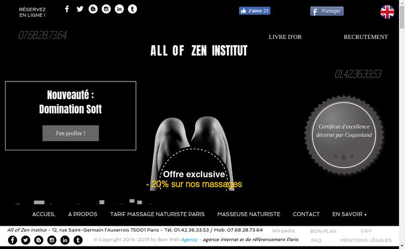 Capture d'écran du site de All Of Zen Institut