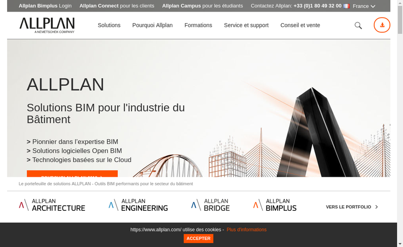 Capture d'écran du site de Allplan France