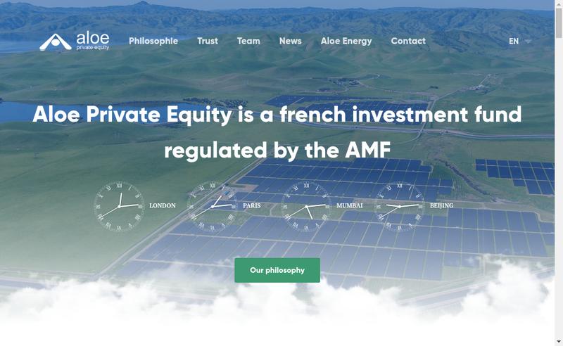 Capture d'écran du site de Aloe Private Equity