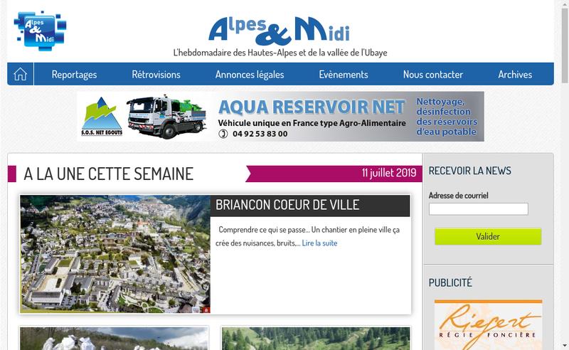 Capture d'écran du site de Alpes et Midi
