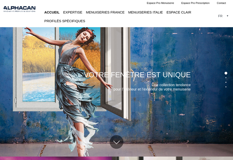 Capture d'écran du site de Alphacan