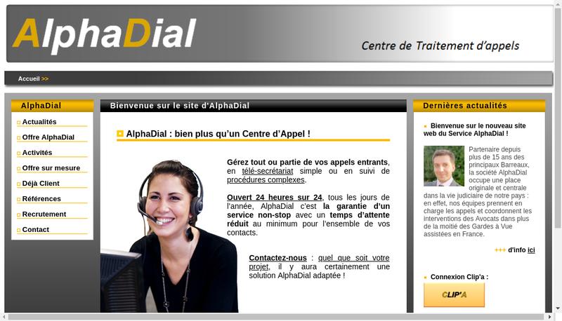 Capture d'écran du site de Alphadial
