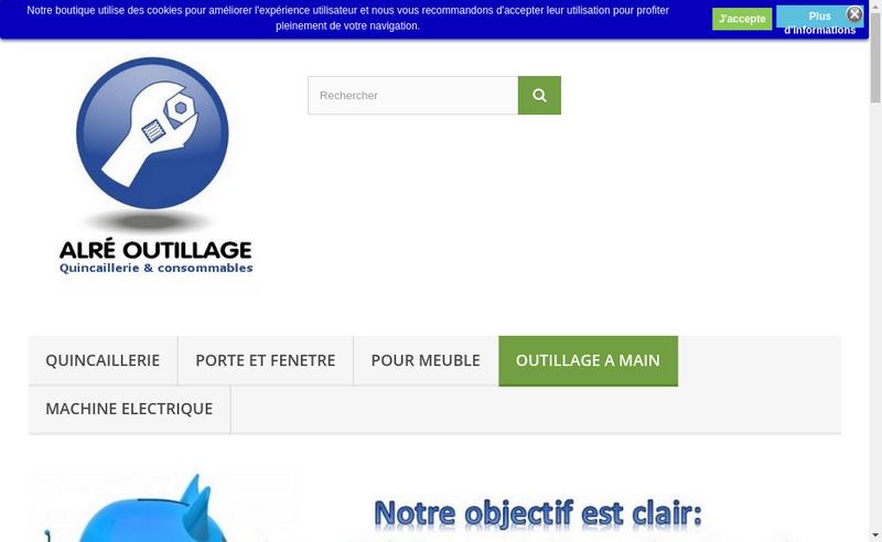 Capture d'écran du site de Alre Outillage