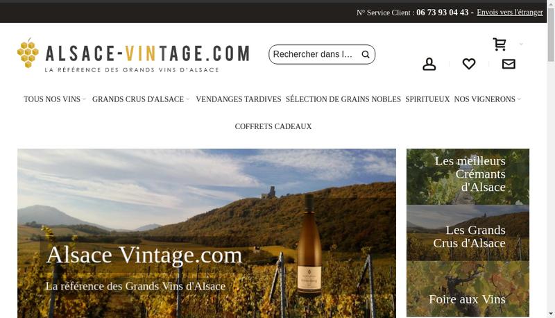 Capture d'écran du site de Alsace Vintage Com
