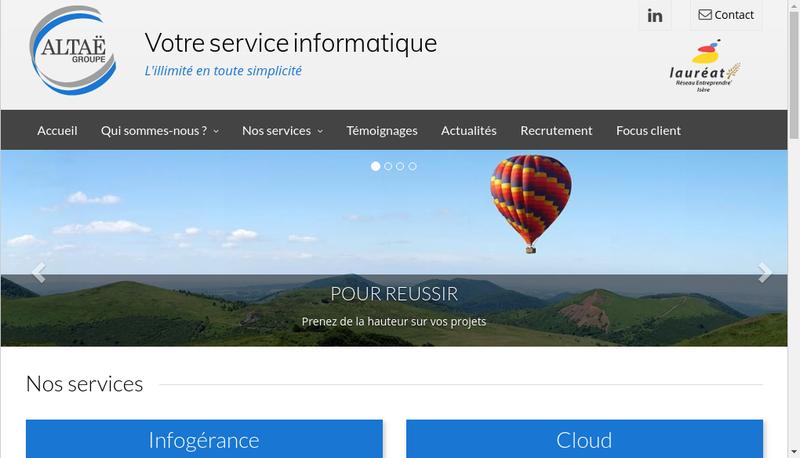 Capture d'écran du site de Altae