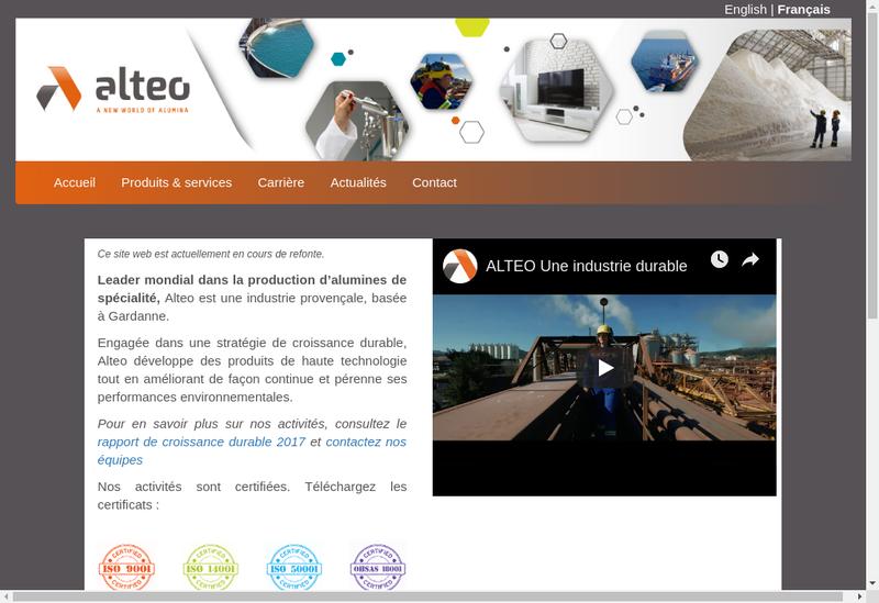 Capture d'écran du site de Alteo Holding