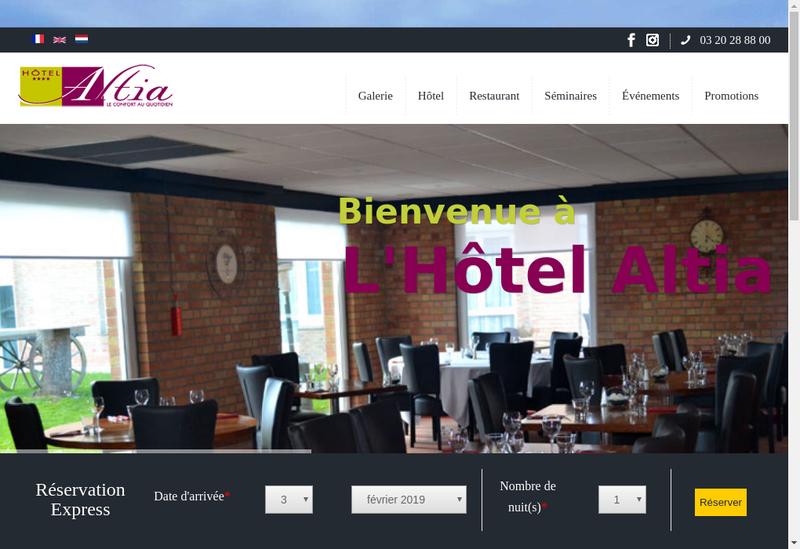 Capture d'écran du site de Altia Hotel
