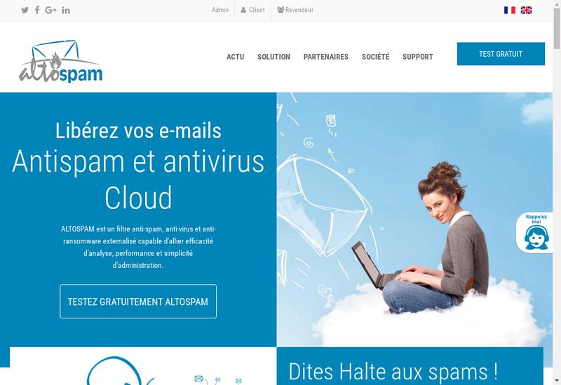 Capture d'écran du site de Altospam