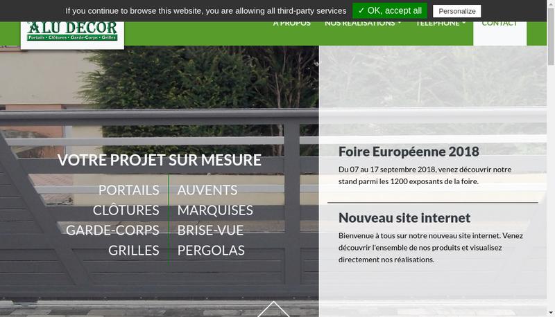 Capture d'écran du site de Alu Decor