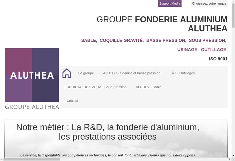 Capture d'écran du site de Aluthea