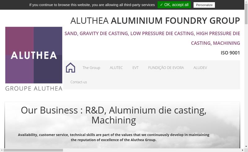 Capture d'écran du site de Alutec