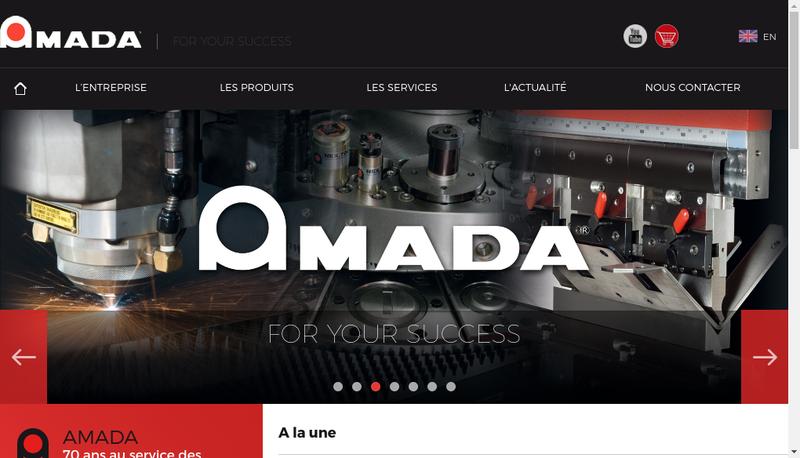 Capture d'écran du site de Amada Europe