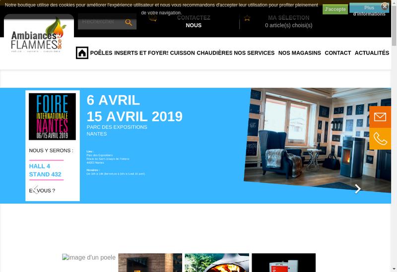 Capture d'écran du site de Sce2 Ambiances Flammes