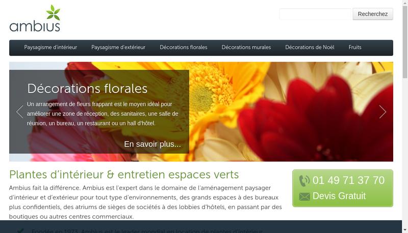 Capture d'écran du site de Ambius