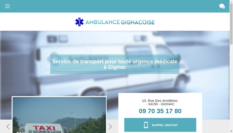 Capture d'écran du site de Ambulance Gignacoise